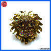 2013 wholesale fashion alloy&rhinestone ring,antique gold color stretch cattle style large metal rings for crafts