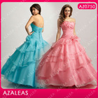 AZ0750 Handmade Flower Ruffle Strapless Floor Length Quinceanera Dresses
