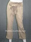 women woven rayon linen pants