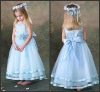 K4486 Ligth Blue Ankle-length Satin and Organza With Bow Flower Girl Dress