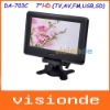 "Free Shipping DA-703C 7"" inch TFT Television With AV Input FM USB SD Dropshipping+Wholesale"