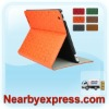 Orange Clover-Pattern Leather Tablet Folio Case with Smart Magnetic Wake/Sleep Cover for ipad 2 for The New iPad