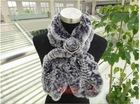 rabbit knitted fur scarf