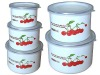 5pcs white high enamelware mixing bowl with PP lid