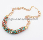 European fashion multicolor beads hand cylinder necklace (color)