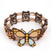 colorful big rhinestone lifelike butterfly bracelet with bronze