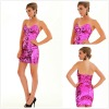 Dazzling Short Sequin Strapless Low Cut V-neckline Girls Party Dresses