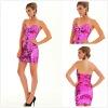 Dazzling Short Sequin Strapless Low Cut V-neckline Girls Party Dresses