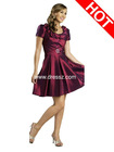 Cheap Wholesale Custom Made Fashion Satin Modest Short Prom Dress 2012 with Ruched