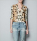 Lady long sleeve tiger printing point collor blouse designs 2012