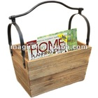 Vintage handmade wooden storage basket for magazine