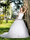 New Strapless Sweetheart Satin Inside Lace Over Tulle Skirt New Model 2013 Wedding Dress