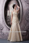 Champagne Hater Sweetheart Floor Length Dresses For Bridesmaid With Beads