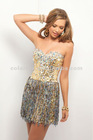 Lt. Gold / Silver Twist and Turn Jeweled Bust Flows into Vertical Strands of Stones Sexy Short Prom Dress