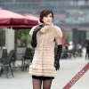 2012 Lady's Rex Rabbit fur and fox fur Vest Beige