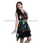 NEW women printed sleeveless printed chiffon dress