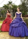 Fairy Full Length Off The Shoulder Ruched Taffeta Ball Gown Customize Your Own Quinceanera Dress QV-088