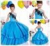 Chic One-shoulder Beads Working Blue Taffeta Flower Girls Dresses 2012