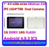 "7"" Wide 4:3 1024*768 MID 1G DDR3 16G FLASH Dual Cameras Android 4.0.3 ICS"