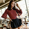 New arrival girls' lossen t shirt striped color latest blouse designs 2012