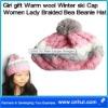 Girl gift Warm wool Winter ski Cap Women Lady Braided Bea Beanie Hat 04