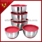 5pcs Stainless steel Mixing Bowl Set With Silicone Bottom&Lids