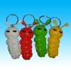 led keychain light animal design Cartoon caterpillar
