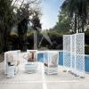 HY-2832 top quality PE rattan pool outdoor screen furniture