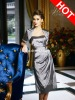 Popular Side-draped Strapless Tea Length Mother Of The Bride Dress With Jacket 2012