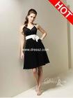 Knee Length Chiffon 2012 Tony Bowls Black Prom Dress with One Bow Strap Halter Neckline