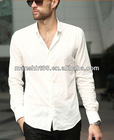 comfortable white long sleeve casual shirts for men with spread collar