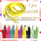 Optional Color Noodle Micro USB Data Sync Charger Cable for mobile phone
