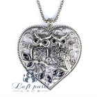 Left Paris- Eagles in love heart pendant necklace