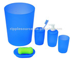 Plastic blue color pp bathroom set including dustbin tumbler toothbrush holder and soap dish