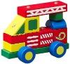 wooden block fire car