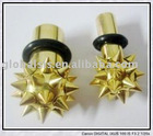Titanium gold plated jewelry ear plugs