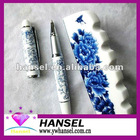 Branded pens with blue and white porcelain