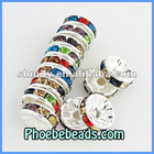 Wholesale 10mm Multicolor CZ Crystal Rhinestone Spacers Rondelle Metal Beads Accessories Jewelry Findings Handmade High Quality