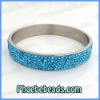 Light Blue Rhinestone Stainless Steel Bangles Shamballa 5Rows Crystal Fashion Jewelry Glittering 11Colors RCB-007