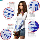 factory produced The retro horn sleeve long-sleeved blue and white porcelain new autumn and winter wild Slim t-shirt