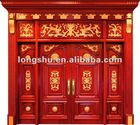 ls-E003 luxury exterior original wooden door with 100% solid wood