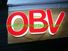 red vinyl applied plexiglass LED channel letter sign