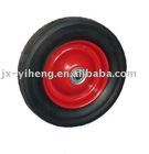 8X1.75 Rib Tread Solid Rubber Wheel with 15.8 Bearing Bore and Steel Hub