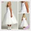 3035-1hs Lovely Fairy Tea Length Big Bowknot Back cap sleeve flower girl dress