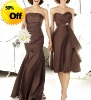 Style RZ-bd031 strapless pleated satin floor length patterns for bridesmaids dresses