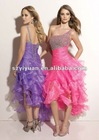 2012 Elegant One-Shoulder Organza Front Short And Long Back Prom Dress