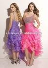 2012 Elegant One-Shoulder Organza Front Short And Long Back Prom Dress