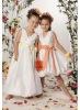 VF173 sleeveless beautiful V-neck satin flower girl dresses