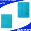 leather case for ipad in imitation sheepskin material blue color