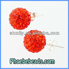 Wholesale Top Quality Pave Red Crystal 10mm Ball Shamballa Rhinestone Earrings 925 Sterling Silver Stud Earring Jewelry SSCE009